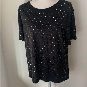 NWT Splendid Black Studded short sleeved top